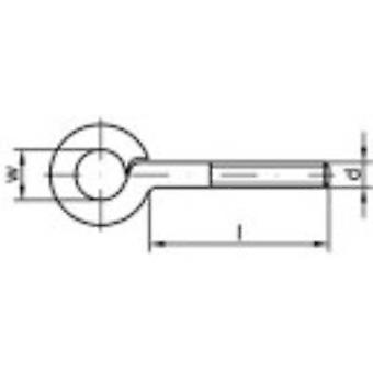 TOOLCRAFT Thread eyelets type 48 (Ø x L) 10 mm x 15 mm Electrogalvanised steel M6 100 pc(s)