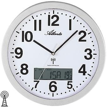 Wall clock wall clock radio digital display of day date and temperature
