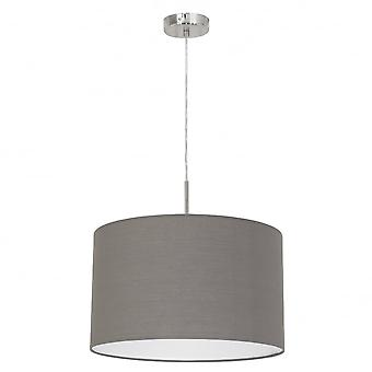 Eglo Pasteri 380mm Pale Brown Drum Shade With Nickel Pendant