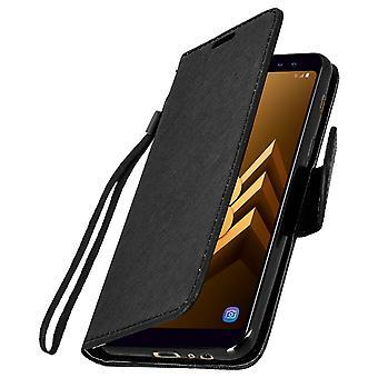 Cubierta de lujo estilo, caso de la cartera con soporte para Samsung Galaxy A8 - negro