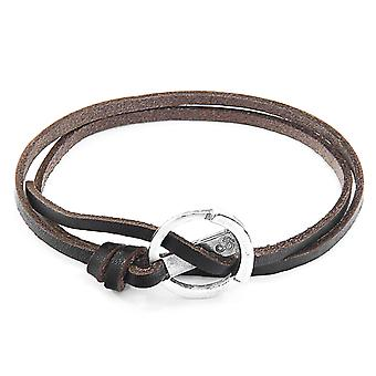 Dark Brown Ketch Anchor Silver and Flat Leather Bracelet