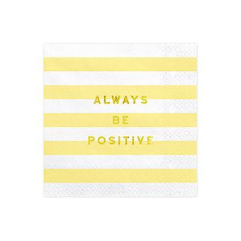 Paper Napkins Yellow Stripe x 20 Always Be Positive
