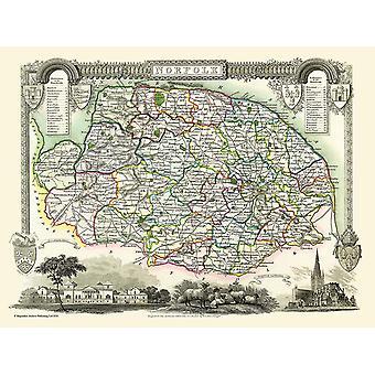 Карта Норфолк 1836, Thomas Moule 1000 кусок головоломки (jg)