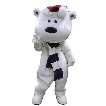 mascot big white Teddy bear with a scarf and beanie SPOTSOUND