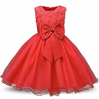 Princess dress with rosette and Flowers-Red