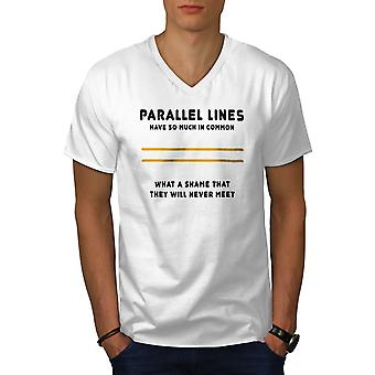 Parallel Lines mannen WhiteV-Neck T-shirt | Wellcoda