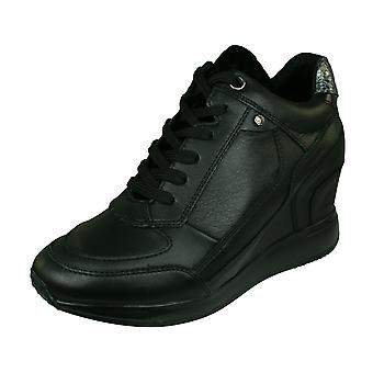 Geox D Nydame A Womens Wedged Heeled Nappa Leather Trainers / Boots - Black