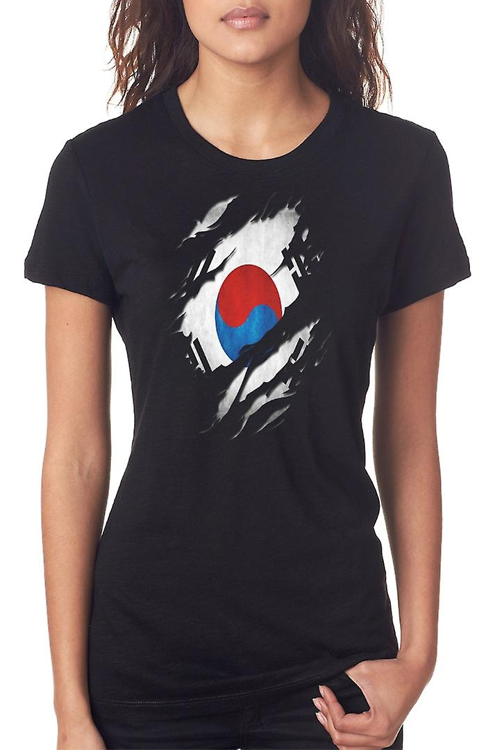 South Korean Grunge Flag Ripped Effect Ladies T Shirt