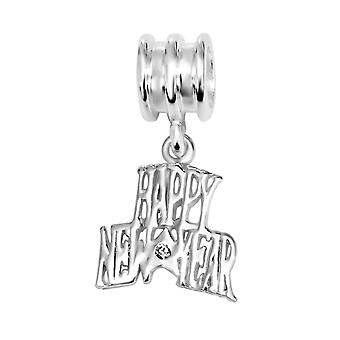 Happy New Year - 925 Sterling Silver Jewelled Beads - W10755X