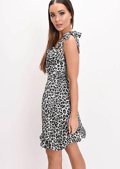 Frill Hem Leopard Print Satin Tie Strap Cup Detail Skater Dress Grey
