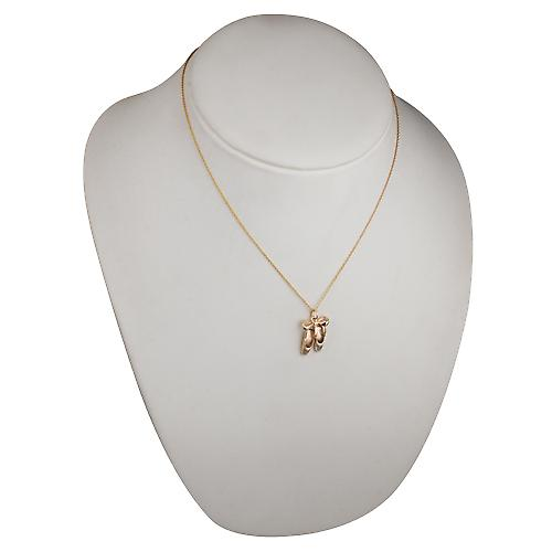 9ct Gold 23 x12mm Ballet Shoes with Bow Pendant with Cable link chain