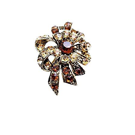 Artistically Designed Vintage Smoked Topaz & Colorado Crystals Brooch