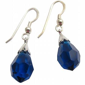 92.5 Sterling Silver Czech Lite Sapphire Crystal Teardrop Earrings