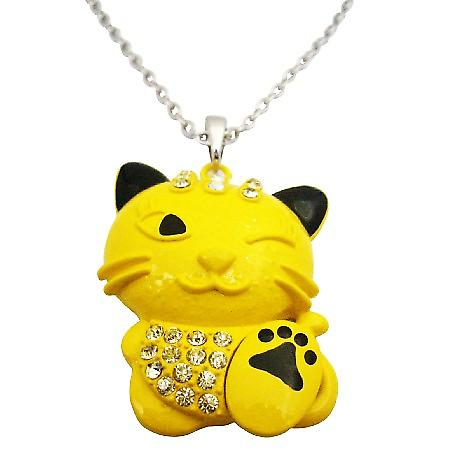 Yellow Enamel Painted Cute Cat Pendant Naughty Embedded w/ Diamante