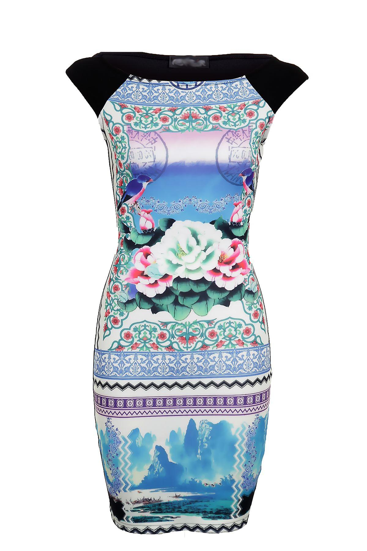 New Ladies Sleeveless Bird Flower Print Short Women's Bodycon Dress