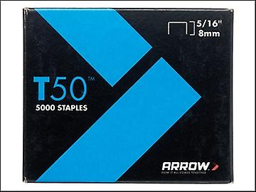 Arrow T50 Staples 8mm (5/16in) Pack 5000 (4 x 1250)