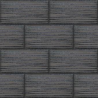Wave carreau noir papier peint brique Glitter cuisine salle de bain en relief vinyle Holden