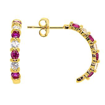 Ah! Jewellery Half Moon Hoop Earrings Set With Fuschia & Clear Crystals From Swarovski
