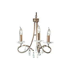 Elstead CRT3 SILVER/GOLD Christina Traditional 3 Arm Chandelier with Crystal Sconces