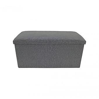 Rebecca meubels Puff container Puffo wit zwart trunk stof kamer