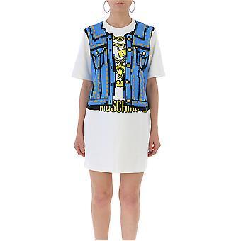 Moschino Vestido de algodón blanco y azul claro