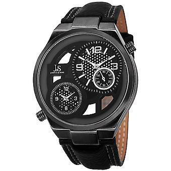 Joshua & Sons JS83BK Swiss Quartz Dual Time  Leather Strap Watch