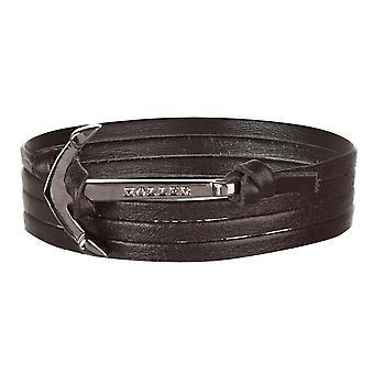 Holler Mosley  Black Polished Anchor / Black Leather Bracelet  HLB-01BKP-L13
