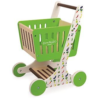 Janod Green Market Wooden Shopping Trolley