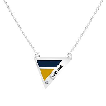 University Of Notre Dame - Notre Dame Engraved Diamond Geometric Necklace In Blue And Yellow