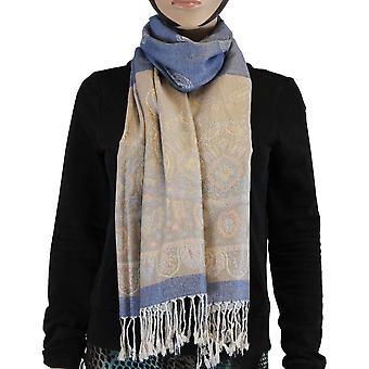 Scarf 100% Pashmina dark blue Multi Color