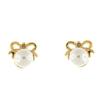 Gold Bow en ivoor Stud Earrings Pearl Stud Earrings