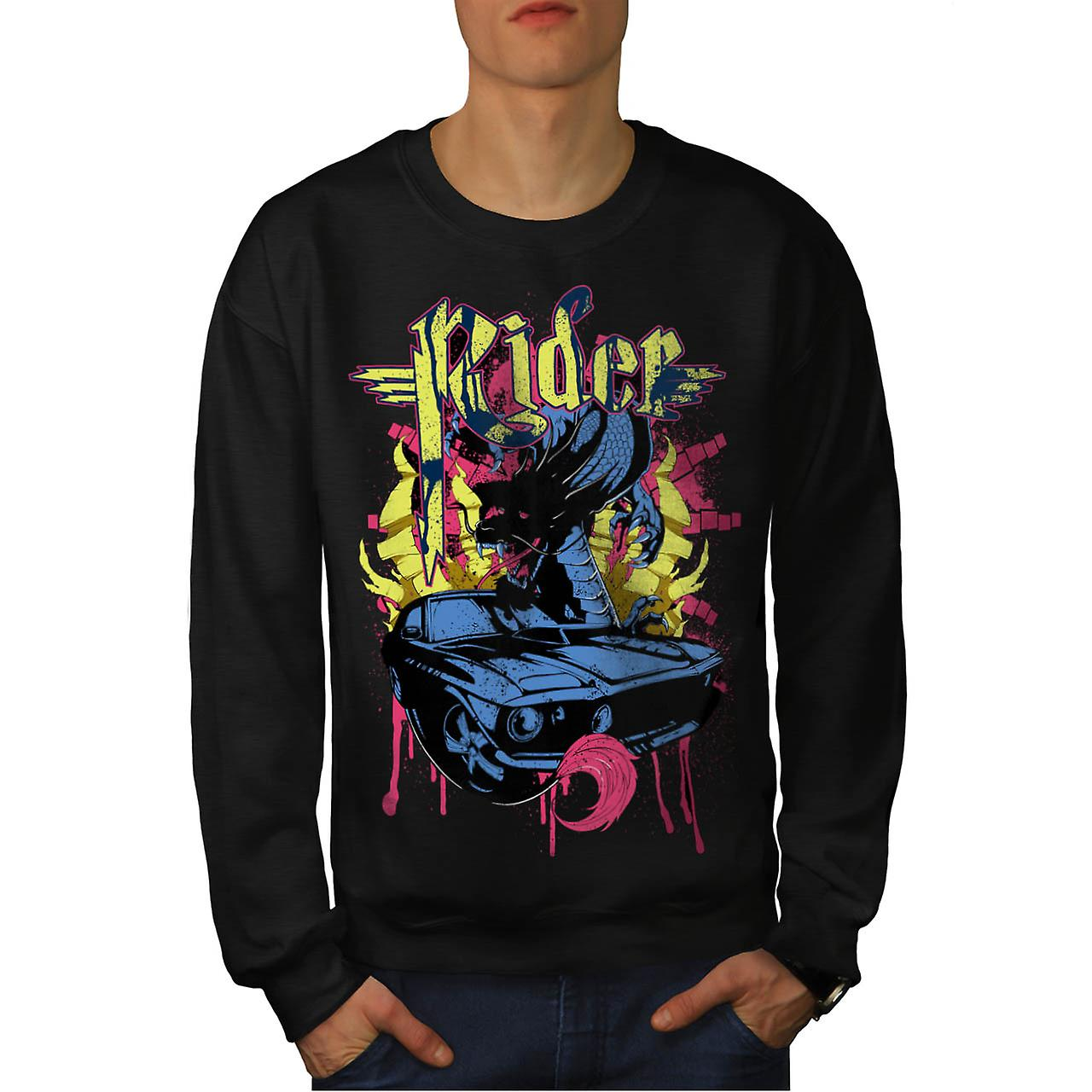 Dragon Motor Car Ride Automobile Men Black Sweatshirt | Wellcoda