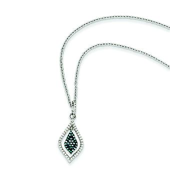 Sterling Silver Blue and White Diamond Pendant - .21 dwt