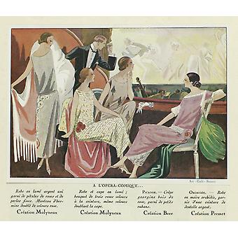 At The Comic Opera By Anonymous 1924 French Magazine Illustration Poster Print