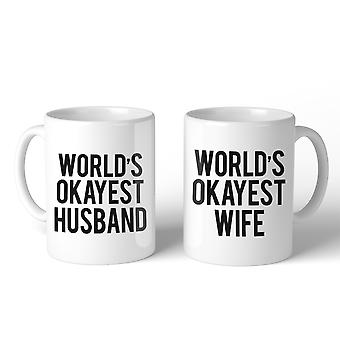 World's Okayest Wife And hunband Couple Mug Funny Anniversary Gifts