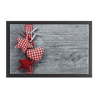 Doormat dirt trapping pad star heart Vichy grey red 40 x 60 cm