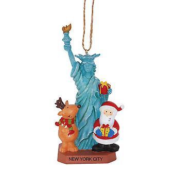 Santa y renos en el estatuto de Nueva York de libertad navidad ornamento de vacaciones