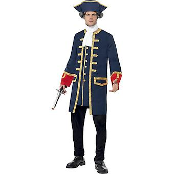Pirate Commander costume uniform men's blue gold