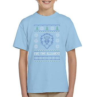 World Of Warcraft Alliance Lion Christmas Knit Kid's T-Shirt