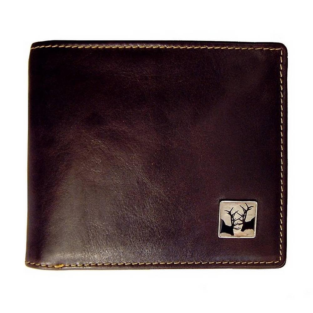 Tyler and Tyler Leather Stags Bill Fold Wallet - Brown