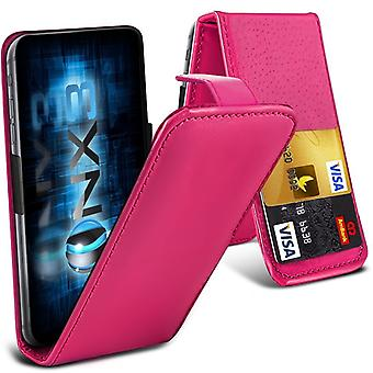 ONX3 (Hot Pink) Samsung Galaxy J2 DTV SM-J200 Premium PU Leather Universal Spring Clamp Flip Case with Camera Slide and Card Slot Holder