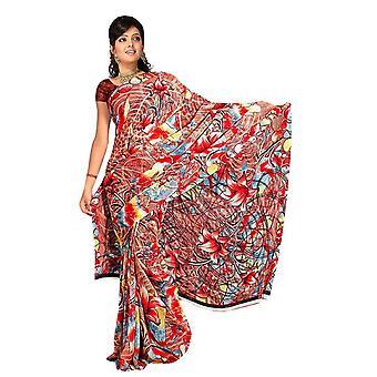 Chandrima Georgette afgedrukt Casual Saree Sari buikdansen stof