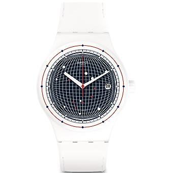Swatch Sutw404 Sistem Planet Blue & White Silicone Automatic Watch