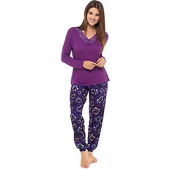 Ladies Wolf & Harte Floral Pansy Printed Long Winter Pyjama pajama Sleepwear