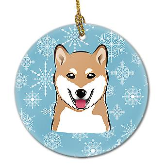 Carolines Treasures  BB1659CO1 Snowflake Shiba Inu Ceramic Ornament