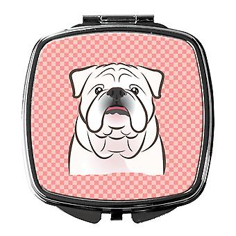 Checkerboard Pink White English Bulldog  Compact Mirror