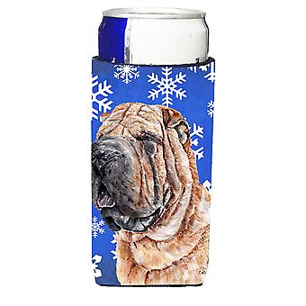Shar Pei Winter Snowflakes Ultra Beverage Insulators for slim cans