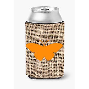 Butterfly Burlap and Orange Can or Bottle Beverage Insulator Hugger BB1050