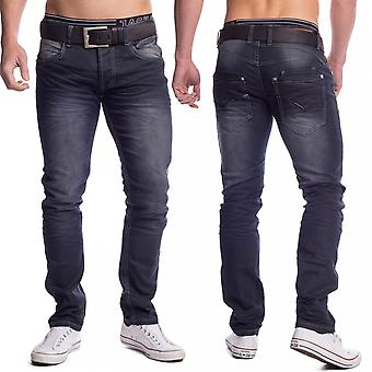 Vintage men's Slim fit Jeans Denim wash stretch pants elastic 5-Pocket style