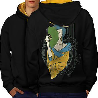 Girl Asia Japan Men Black (Gold Hood)Contrast Hoodie Back | Wellcoda